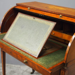 Late George III Mahogany and Inlaid Cylinder Desk