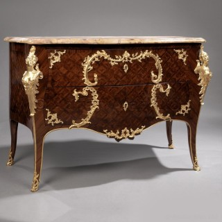 A Louis XV Style Gilt-Bronze Mounted Parquetry Commode