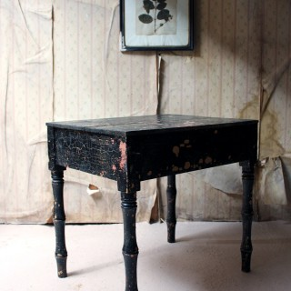 A Decorative Black Painted Occasional or Bedside Table c.1900