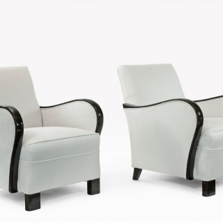 Pair of Art Deco Faux Rosewood and Suede Armchairs