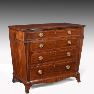Rare Shaped 3ft Wide George III Mahogany Chest Of Drawers