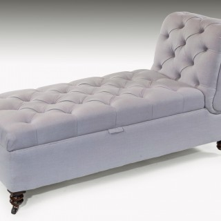 Victorian Adjustable Linen Daybed Couch on Mahogany Turned Feet