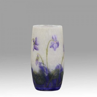 Cameo Glass 'Violettes Vase' by Daum Freres