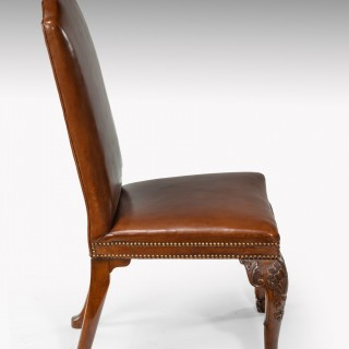 Fine Set of Eight (6+2) Walnut and Leather Upholstered Dining Chairs