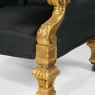Pair of Holland and Sons 19th Century Giltwood Armchairs