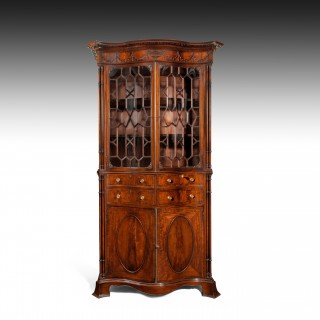 Fine Large Serpentine Mahogany Secretaire Bookcase In the Manner of Thomas Chippendale