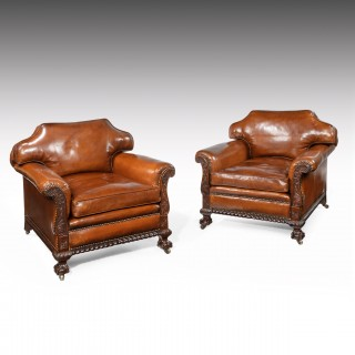 Large Pair of 19th Century Mahogany Country House Leather Armchairs.