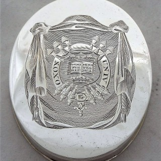 Rare Oxford university armorial George III silver box London 1814 Bateman