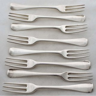 8 crested to match superb quality George I/ II silver Hanoverian 3 prong forks 1723/3