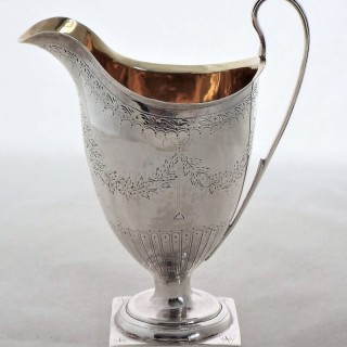 Pretty bright cut George III silver cram jug London 1796 James Mince