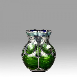 Art Nouveau Titania Silvered Glass Vase by Johann Loetz