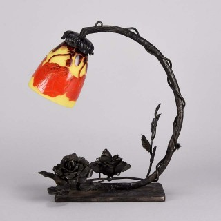 Art Deco Lamp 'Décor Pavot' by Le Verre Francais