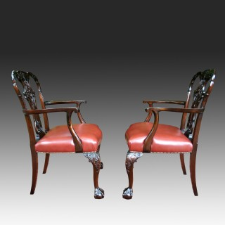 Pair Antique Mahogany Chippendale Revival  Armchairs