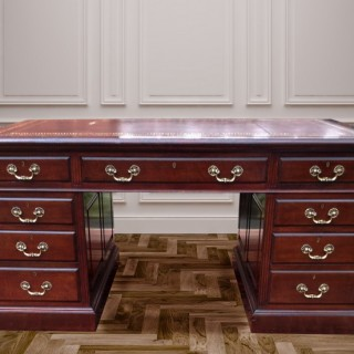 Antique Mahogany Paneled Pedestal Desk