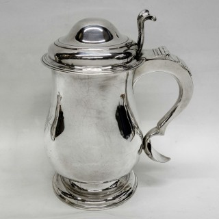 Antique Irish Silver Lidded Tankard