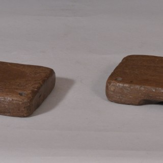 Antique Treen 19th Century Elm Two Piece Butter Mould of a Deer