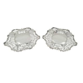 Pair of Antique Victorian Sterling Silver Dishes 1896