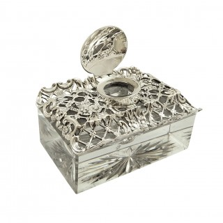 Antique Edwardian Sterling Silver & Cut Glass Inkwell 1902