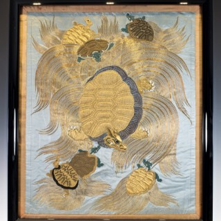 SUPERIOR QUALITY EDO PERIOD JAPANESE GOLD THREAD SILK FUKUSA - MINOGAME (TURTLE)