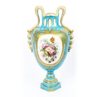 Antique Pair of French Sevres Porcelain Bleu Celeste Vases 18th Century
