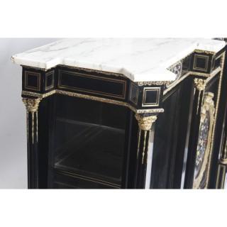 Antique Napoleon III Pietra Dura Ebonised Credenza c.1840