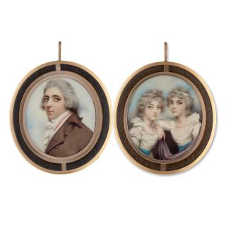 A double-sided, triple portrait miniature of a Gentleman traditionally said to be a member of the Floyd family, and his (twin) daughters, he wearing brown coat and red-lined white waistcoat, the girls, seated, wearing white dresses with blue waistbands an
