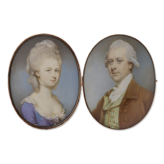 A pair of portrait miniatures probably of a husband and wife; he, wearing brown coat with green patterned waistcoat and white stock, his hair powdered; she, wearing lilac dress with lace-trimmed neckline, pearl choker, further pearls and kerchief in her p