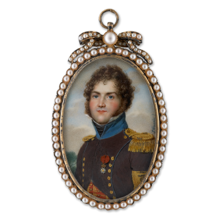 Portrait miniature of an Aide-de-Camp of the 2nd Hussars in undress uniform, wearing a dark brown uniform with cerulean collar and gold lace, with the badge of the Order of the Légion d'Honneur, c.1810