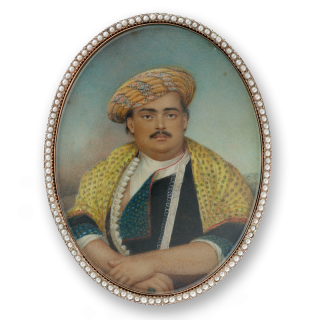 An Indian official, seated, wearing fabric turban, 1806