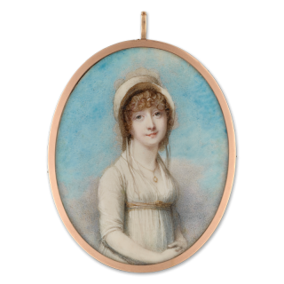 Anne Seymour Damer, née Conway (1749-1828), wearing white muslin dress, straw bonnet, a pendant at her neck, c. 1800