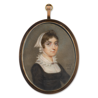 A lady, probably Adélaïde d'Orléans (1777-1847), wearing black dress the white fichu with peaked collar, her dark hair under a white cap, 1802