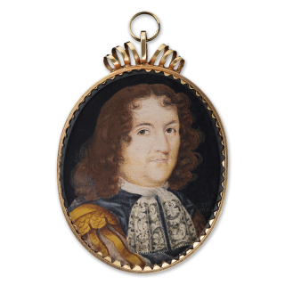 A portrait miniature of an unknown Gentleman, wearing grey doublet with gold shoulder decoration over slashed sleeves, white lace jabot, his hair worn curled, 1664