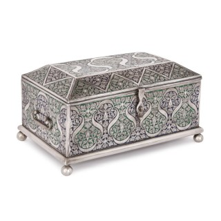 Islamic style silver and enamel jewellery box