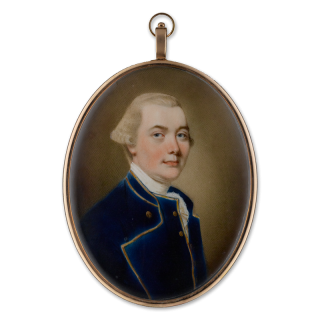 A Member of the Seton Family, probably Archibald Seton (1758-1818), wearing dark blue coat and waistcoat edged with gold braid, c. 1802