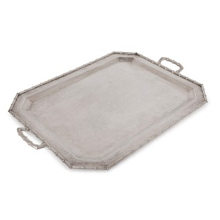 Chinese export solid silver tray