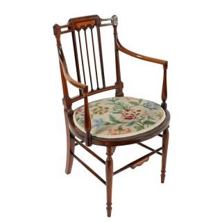 Edwardian Inlaid Elbow Chair