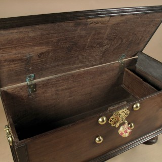 Dutch Colonial Hard wood chest with brass mounts