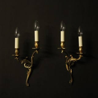 French Pair Of Gilded Antique Wall Lights