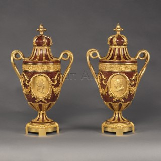 A Pair of Gilt-Bronze Mounted Jaspe Rouge de Sicile Urns
