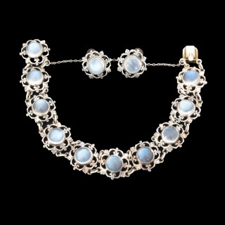 A lovely Sibyl Dunlop moonstone bracelet and earrings