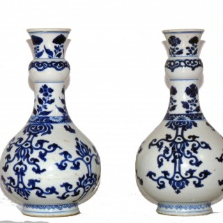 kangxi Pair of Blue and White Bottle Vases