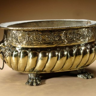 Oval Brass Embossed Jardiniere  / Wine cooler