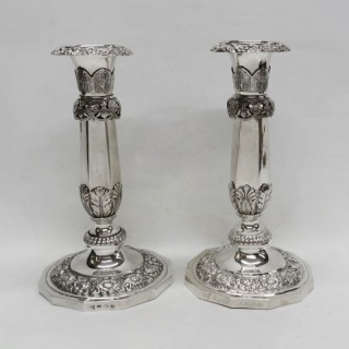 Antique Russian Silver Candlesticks