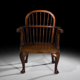 Rare George II Style Mahogany Windsor Armchair
