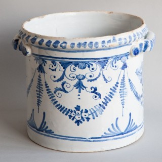 BLUE AND WHITE FAIENCE 'RAFRAICHISSOIR' WINE COOLER, TOULOUSE REGION, EARLY 18TH CENTURY