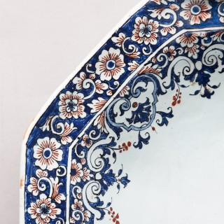 ROUEN EARLY 18TH CENTURY OCTAGONAL FAIENCE PLATTER OR 'BANNETTE' Circa 1710