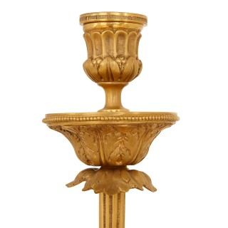 Pair of large gilt bronze and marble candelabra
