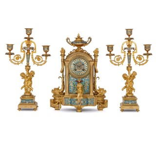 Antique cloisonne enamel and gilt bronze clock set