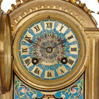 Antique cloisonne enamel and gilt bronze clock set