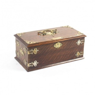 Antique Victorian Oak Cigar Humidor Box 19th Century